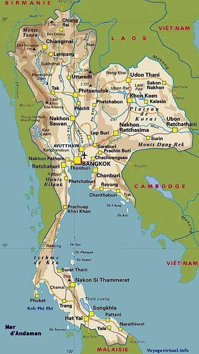 Carte Thailande Sukhothai.Carte De Thailande