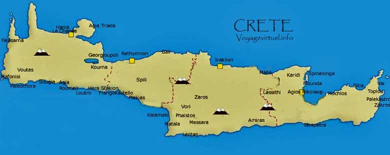 Carte Crete Bali.Carte De La Crete Krhth Grece