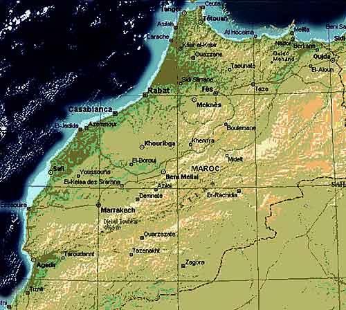 ����� ������ �������� 2013 - ����� ������ �������� � �������� ���� ����� �������� map-morocco-maroc-ca