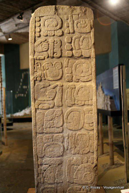 Tonina Museum Stela With Glyphs 60