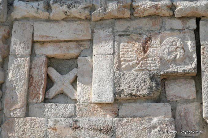 Uxmal Grande Pyramide Temple Des Perroquets Gros Plan 5