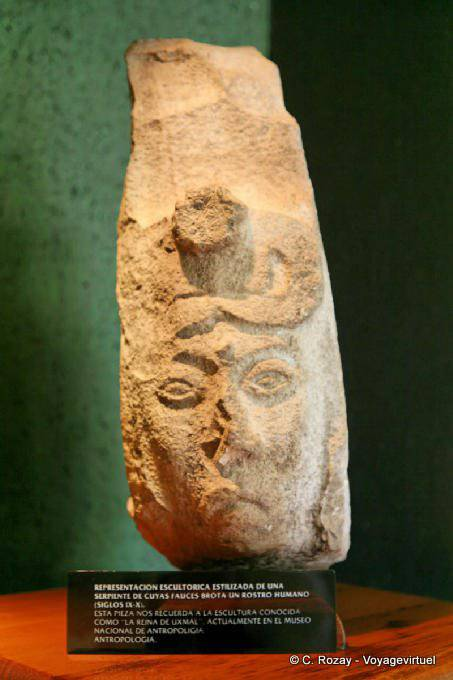 Uxmal Museum Serpent Whose Jaws Gushes A Face 3