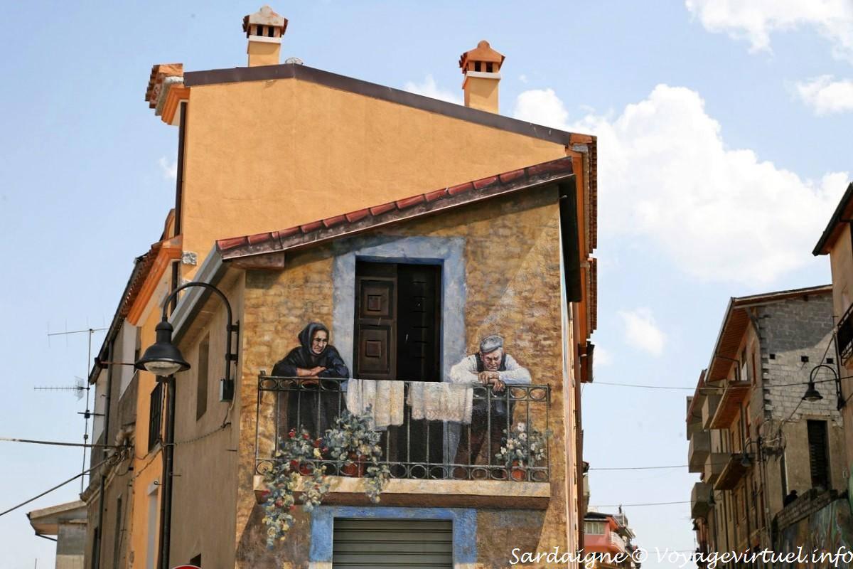 Peinture Murale Trompe L Oeil angle de rue, balcon en trompe-l'œil, peinture murale de fonni